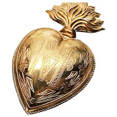 Antique Nineteenth Century Gilded French Sacred Heart Ex Voto Reliquary