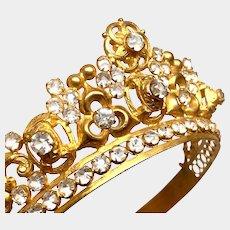 Antique 19th Century Gilded Bronze French Religious Santos Diadem Crown