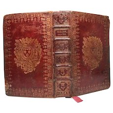RARE Antique 18th Century French Red Morocco Royal Religious Semaine Sainte Binding
