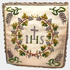 Fine Antique Hand Embroidered Chenille Religious Ciborium Veil Cover