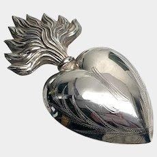RARE Antique Nineteenth Century French Silver Sacred Heart Ex Voto Initial, J (Jesus)