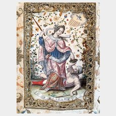 RARE and Precious Antique Eighteenth Century French Convent Work Metallic Embroidery Religious Reliquary Panel