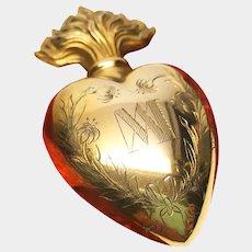 Antique Nineteenth Century French Sacred Heart Ex Voto