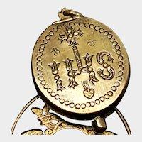 RARE 18th Century Gilded Bronze Sacred Heart Double Face Reliquary Pendant