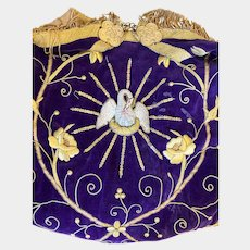 Exquisite Nineteenth Century French Ecclesiastic Silk Velvet and Metallic Stumpwork Cope Hood
