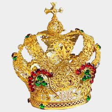 Antique Nineteenth Century Gilded Bronze French Religious Santos Crown
