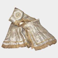 RARE Antique Napoleon III Era Silver Metallic Brocade French Tabernacle Veil