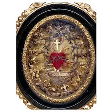 Majestic Antique French Convent Work Sacred Heart Crown of Thorns Hanging Reliquary