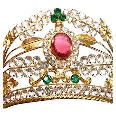 Antique 19th Century French Gilded Brass Diadem Santos Crown