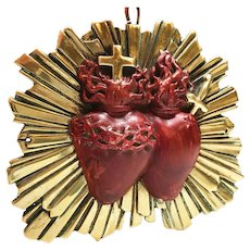 Antique 19th Century French Gilded Bronze Pierced Sacred Heart Ex Voto