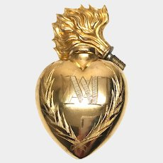Antique French Gilded Bronze and Brass Sacred Heart Holy Water Flacon