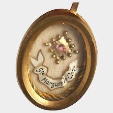 Antique 19th Century French Antique Reliquary Pendant Ste. Marguerite de Cortona
