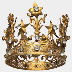 Antique 19th Century French Gilded Brass Bronze Religious Santos Crown