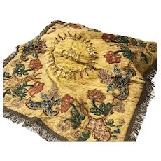 Spectacular Antique 19th Century French Silk Chalice Veil with Crewel Work Applique Embroidery