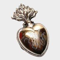 Antique 19th Century French Vermeil Sacred Heart Ex Voto Reliquary