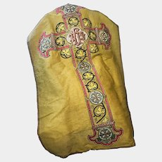 Magnificent Antique 19th Century French Stumpwork Embroidery Bejeweled Ecclesiastic Chasuble