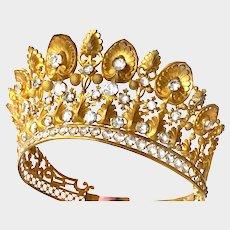 Lavish Antique 19th Century Gilded Brass French Religious Santos Crown