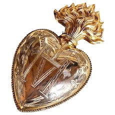 RARE Enormous Antique Vermeil Sacred Heart Ex Voto with Manuscript Provenance 1904