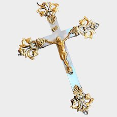 Rare Antique Gilded Bronze French Mother of Pearl Nineteenth Century First Communion Crucifix