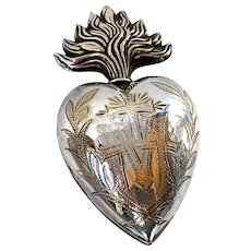 Antique Nineteenth Century French Gilded Silver Sacred Heart Ex Voto Reliquary