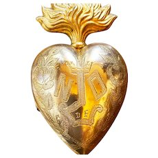 """Antique 19th Century Religious French """"ND"""" Notre Dame Gilded Brass Sacred Heart Ex Voto"""