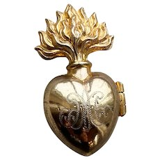 RARE Tiny Antique 19th Century Gilded Bronze French Sacred Heart Ex Voto