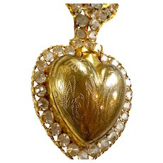 SOLD       Stunning Antique Religious French Gilded Brass Bejeweled Sacred Heart Ex Voto