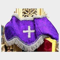 RARE Antique French Religious Convent Work Double Side Lyon Silk Antependium