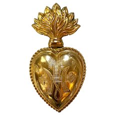 Rare Antique French Gilded Brass Sacred Heart with Dated Provenance 1882
