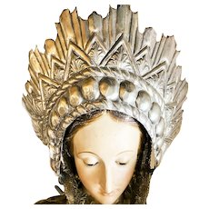 RARE Antique Areole Halo Italian Religious Santos Crown
