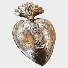 Exquisite and Rare Antique French Silver Figural Madonna and Child Sacred Heart Ex Voto