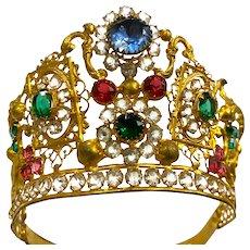 Impressive Cisele Gilded Bronze Antique French Religious Santos Crown