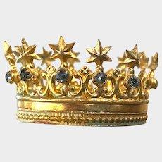Rare TINY Gilded Brass French Santos Religious Crown