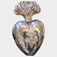 Antique French Religious Silver Sacred Heart Ex Voto