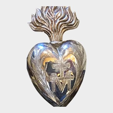 Antique French Religious Silver Sacred Heart Ex Voto
