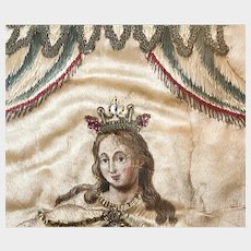 Antique 18th Century French Convent Embroidery Our Lady of Mercy)