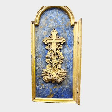 Antique French Carved Wooden Religious Tabernacle Door