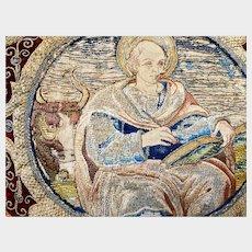 Antique 17th Century Signed Italian Embroidered Altar Panel Evangelist Luke