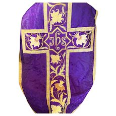 French Embroidered Violet Silk Brocade Religious Chasuble