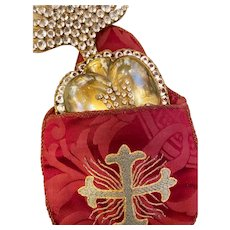 RARE Antique Enormous Gilded Bronze Brass French Sacred Heart with Antique Convent Work Pouch