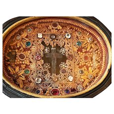 RARE and Magnificent French Convent Work Bejeweled Paperolle Reliquary Box