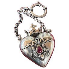 RARE Antique Italian Silvered Crowned Religious Reliquary Heart