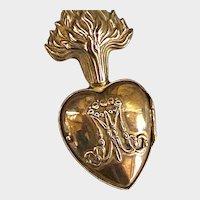 RARE Flat Back Antique 19th Century Gilded Bronze French Sacred Heart Ex Voto