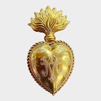 Antique 19th Century French Gilded Bronze Sacred Heart Ex Voto