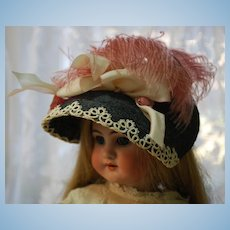 Beautiful Artist Made Straw Hat with Vintage Feather and Flowers