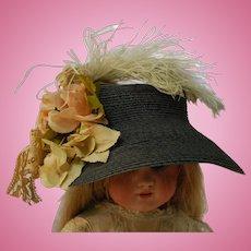 Elegant Artist Made Navy Blue Straw Hat with Antique Embellishments