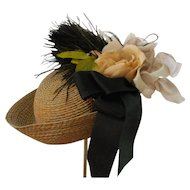 Artist Made Brown Straw Hat with Up Turned Brim