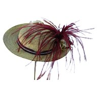 Light Brown Straw Hat Artist Made with Vintage Trim