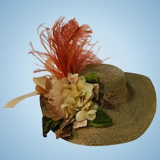 Brown Straw Hat Artist Made with Upturned Brim in the Back