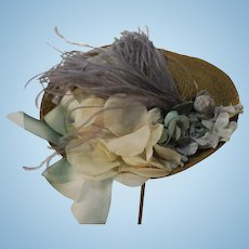 Straw Hat Artist Made With Antique Feather and Vintage Flowers